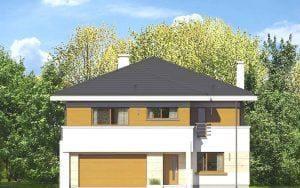 Wizualizacja budynku mieszkalnego dwupiętrowego - widok odstrony drzwi igarażu
