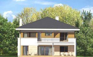 Wizualizacja budynku mieszkalnego dwupiętrowego z tarasem